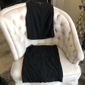 Black lace stretch 2 piece top and skirt